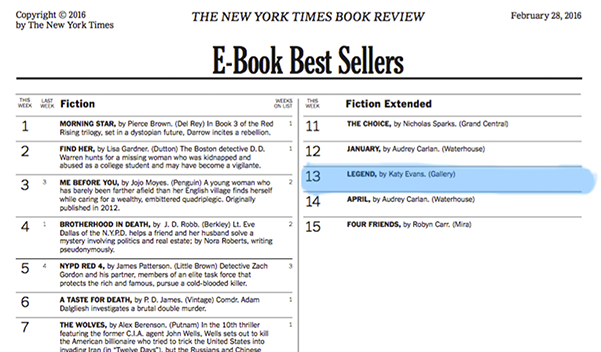 Congrats Katy Evans On Another New York Times Bester Legend Debuted At 13 The E Book Best Ers List